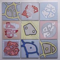 nine Oil dot paintings